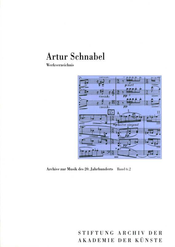 Anouk Jeschke, Artur Schnabel. Werkverzeichnis